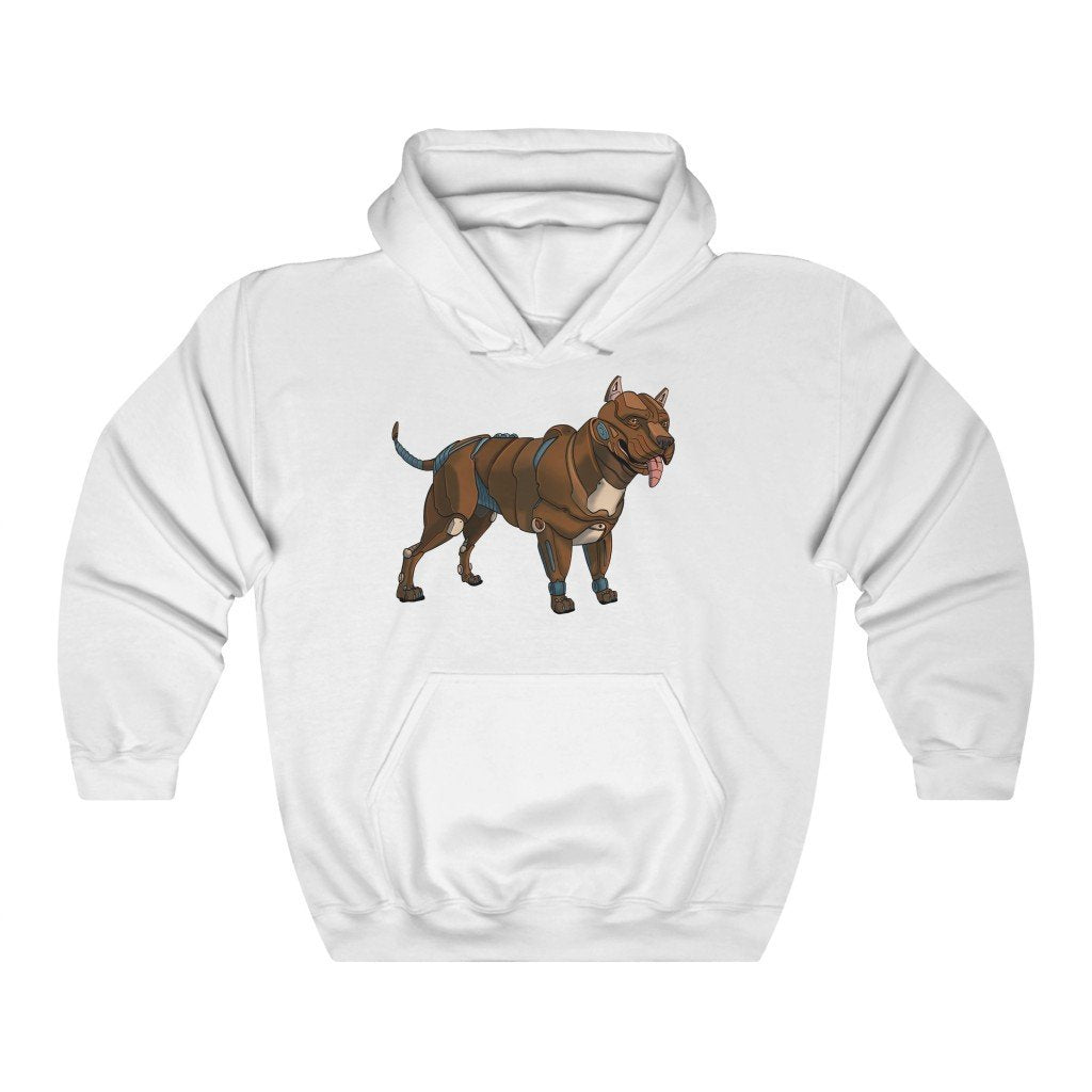 """Pitbull Terrier Robot"" Hooded Sweatshirt by Dan Pearce (Hoodie) - Dan Pearce Creative Shop"