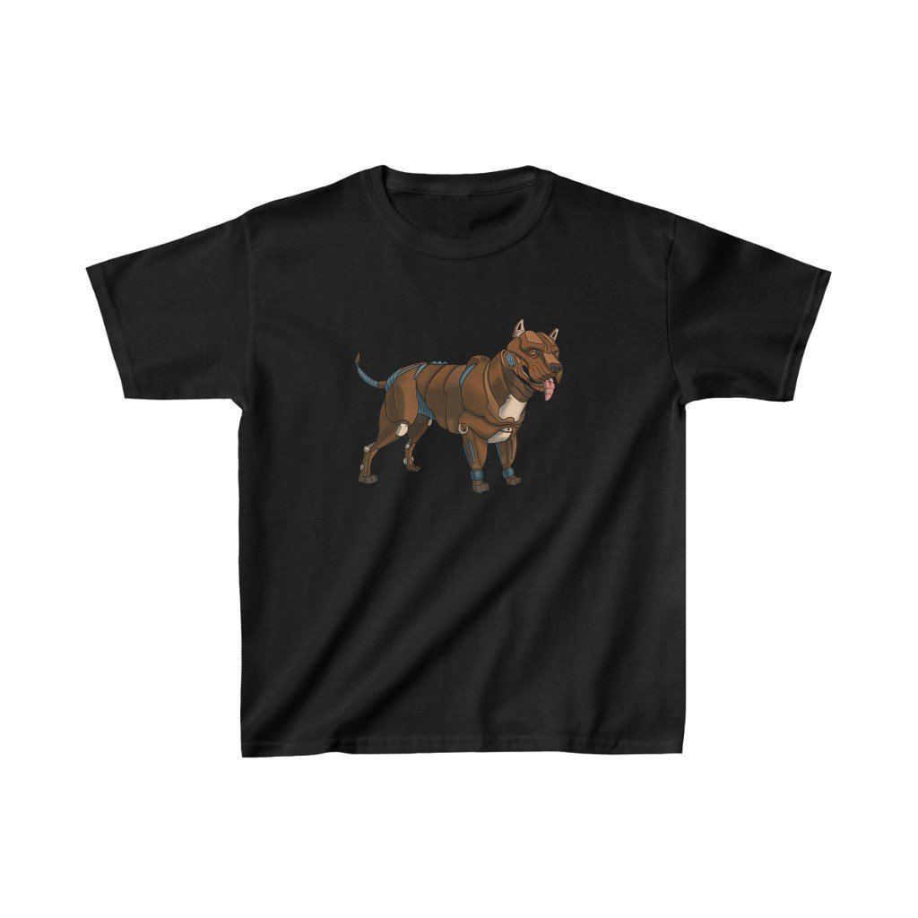 """Pitbull Terrier Robot"" Kids Heavy Cotton™ T-Shirt (Youth) - Dan Pearce Creative Shop"