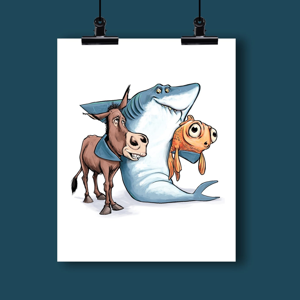 Poker Art Print #1: The Donkey & The Fish: Always A Shark's Best Friends - Dan Pearce Creative Shop
