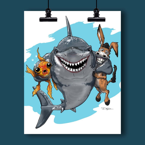 Poker Art Print #2 - Sharks: Keep Your Fish and Your Donkeys Close