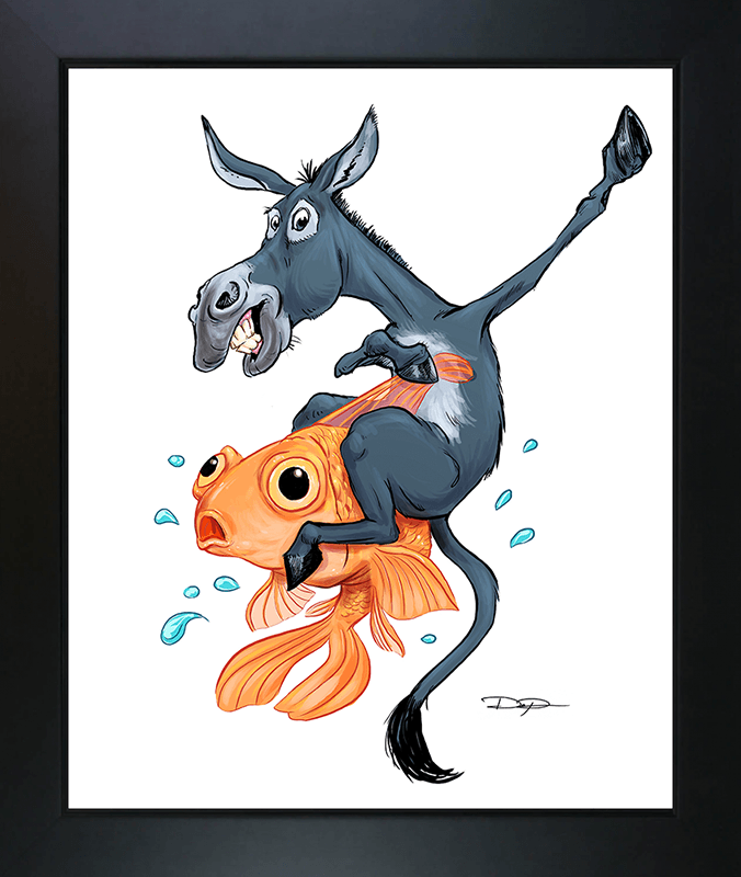 Poker Art Print: The Donkey Riding the Fish - Dan Pearce Creative Shop