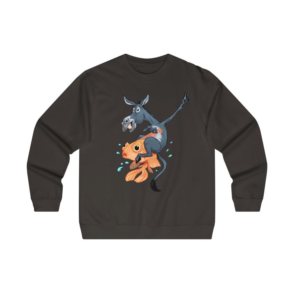 Poker Premium Crewneck Sweatshirt: Donkey Riding a Fish - Dan Pearce Creative Shop