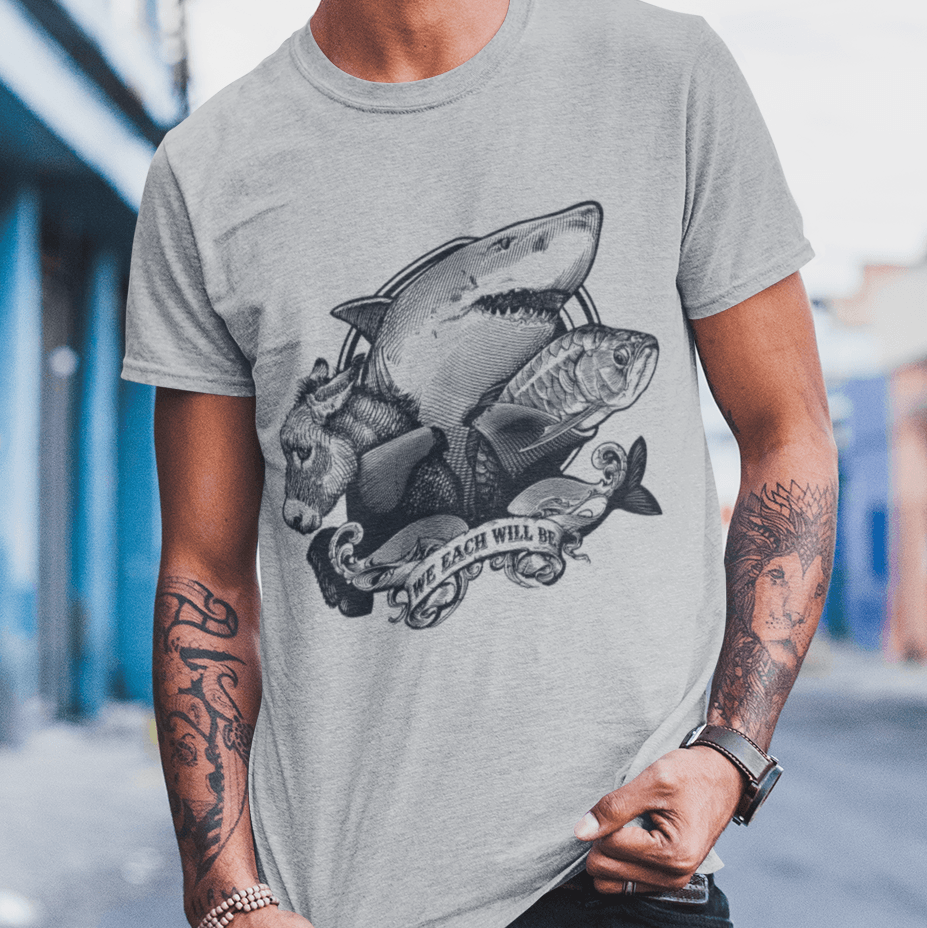 "Poker T-Shirt - ""We Each Will Be"" Shark, Donkey, and Fish - Dan Pearce Creative Shop"