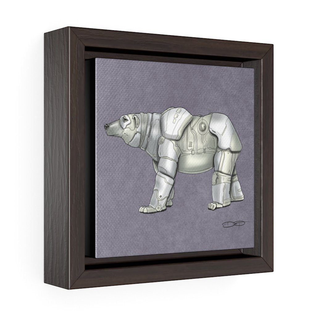 """Polar Bear Robot"" Art (Square) Framed Premium Gallery Wrap Canvas - Dan Pearce Creative Shop"