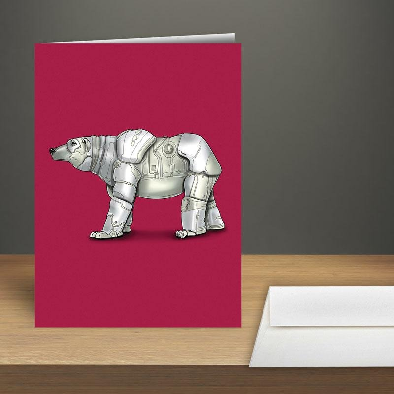 """Polar Bear Robot"" Premium Greeting Card(s) Featuring Art by Dan Pearce - Dan Pearce Creative Shop"