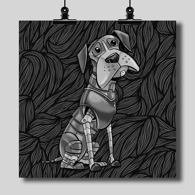 Professional Black & White Print for Finished Robot Animal Art - Dan Pearce Creative Shop