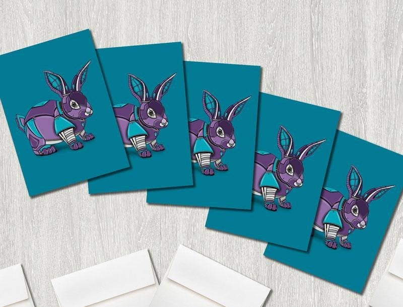 """Rabbit Robot"" Premium Greeting Card(s) Featuring Art by Dan Pearce - Dan Pearce Creative Shop"