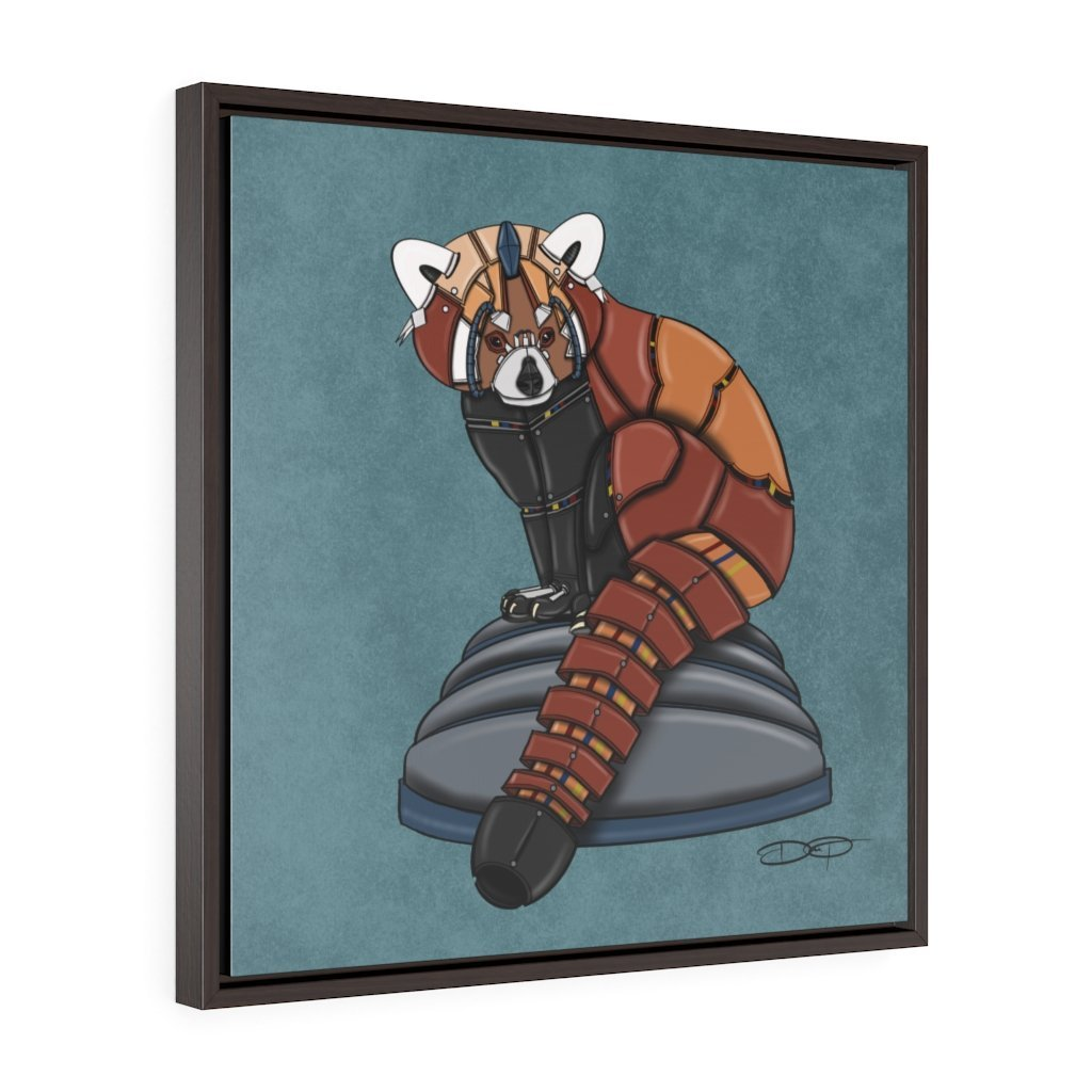 """Red Panda Robot"" Art (Square) Framed Premium Gallery Wrap Canvas - Dan Pearce Creative Shop"