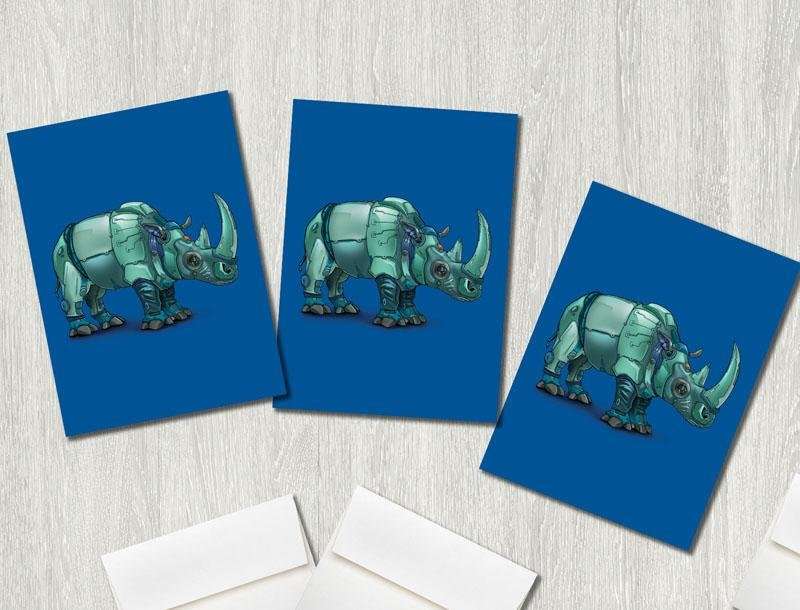 """Rhino (Rhinoceros) Robot"" Premium Greeting Card(s) Featuring Art by Dan Pearce - Dan Pearce Creative Shop"