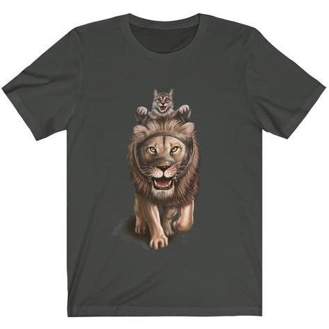 """Ride 'em Before They Ride You"" Cat and Lion Premium T-Shirt #2 - Dan Pearce Creative Shop"
