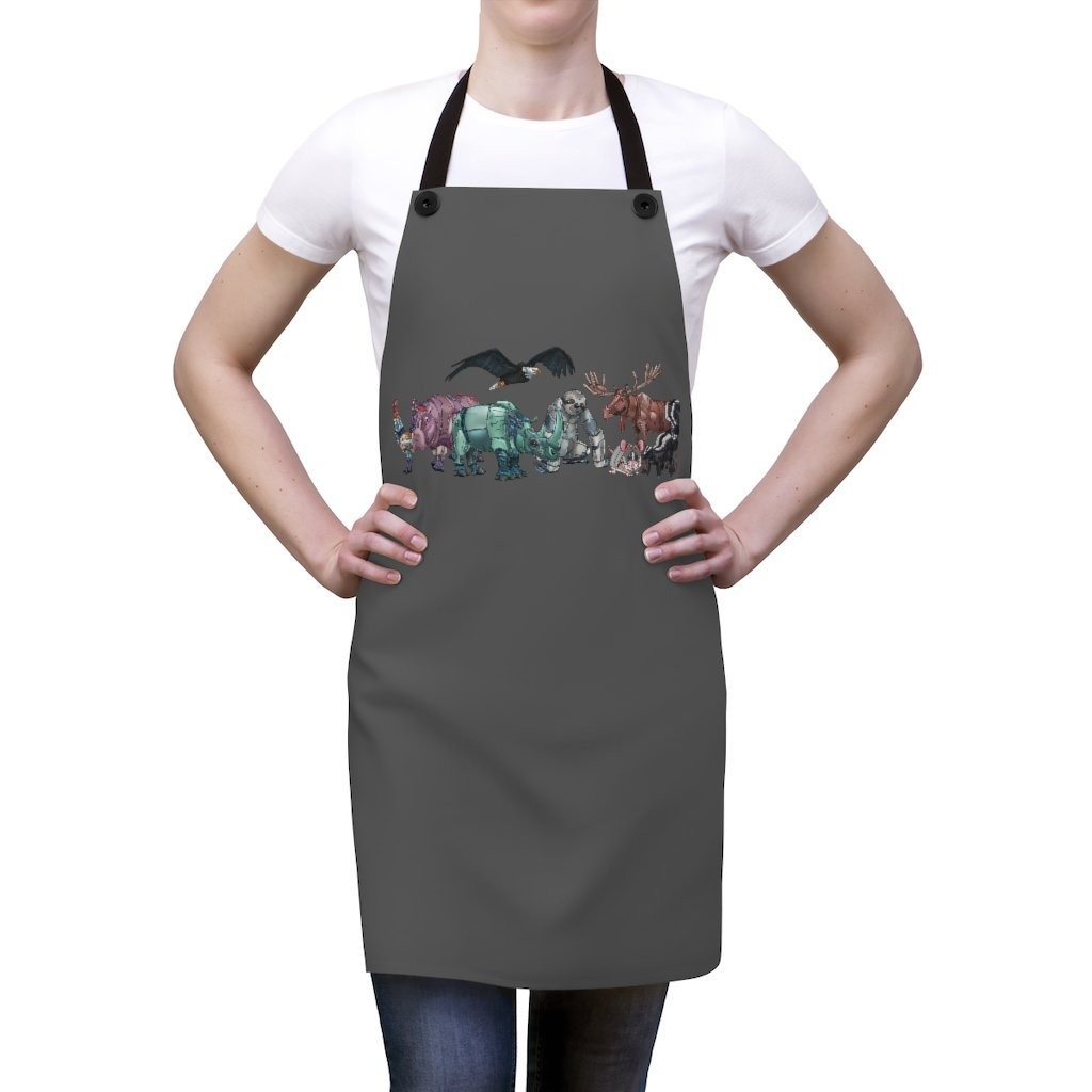 """Robot Animals"" Featured Cooking Apron Featuring Art by Dan Pearce - Dan Pearce Creative Shop"