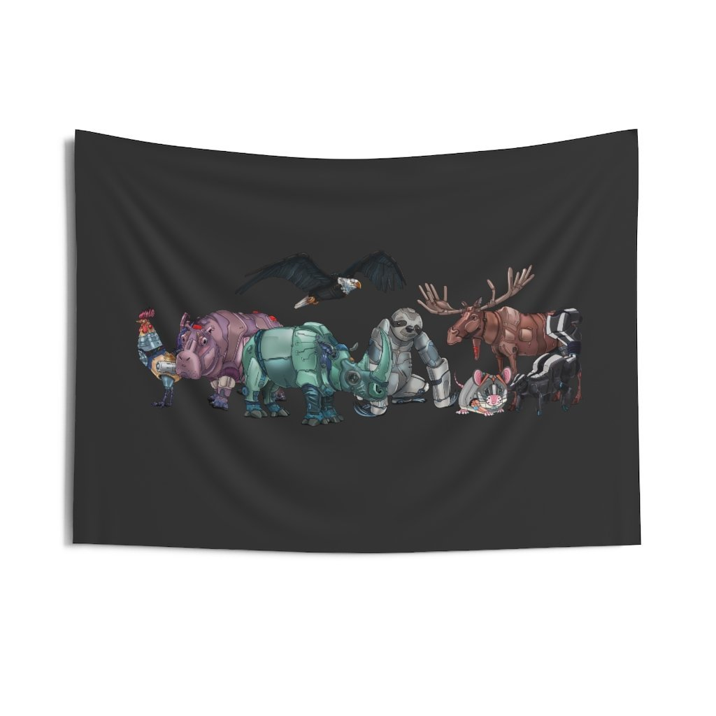 """Robot Animals"" Featured Indoor Wall Tapestry - Dan Pearce Creative Shop"