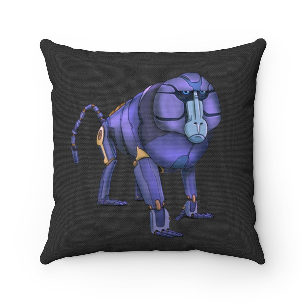 """Robot Baboon"" Square Throw Pillow with Artwork by Dan Pearce - Dan Pearce Creative Shop"