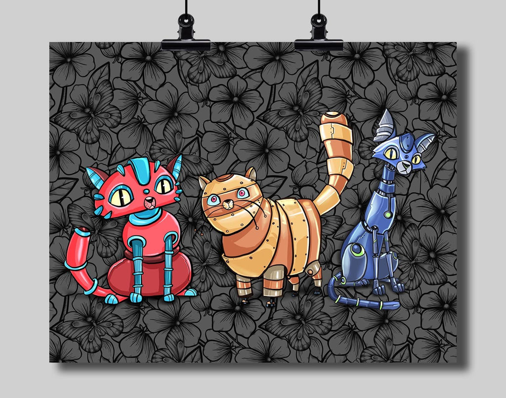 Robot Cats Art Print by Dan Pearce - Dan Pearce Creative Shop