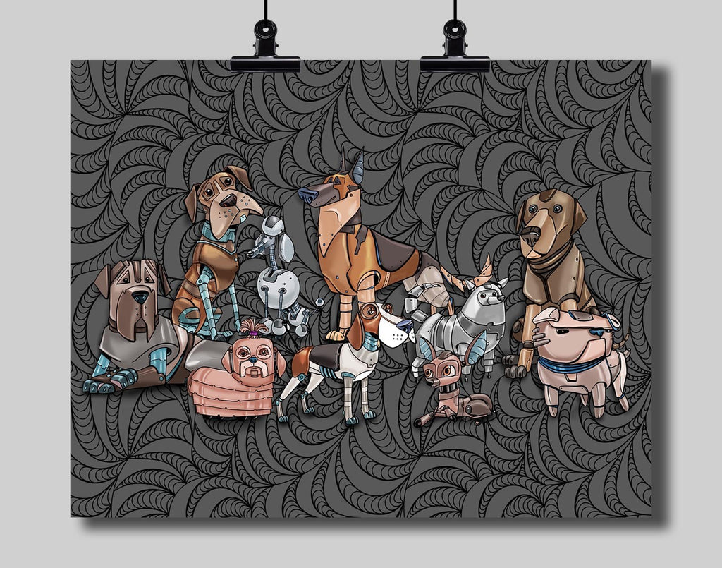 Robot Dogs Art Print by Dan Pearce - Dan Pearce Creative Shop