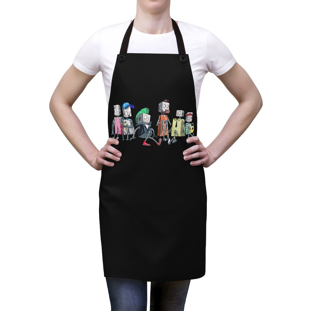 """Robot Friends"" Cooking Apron Featuring Art by Dan Pearce - Dan Pearce Creative Shop"