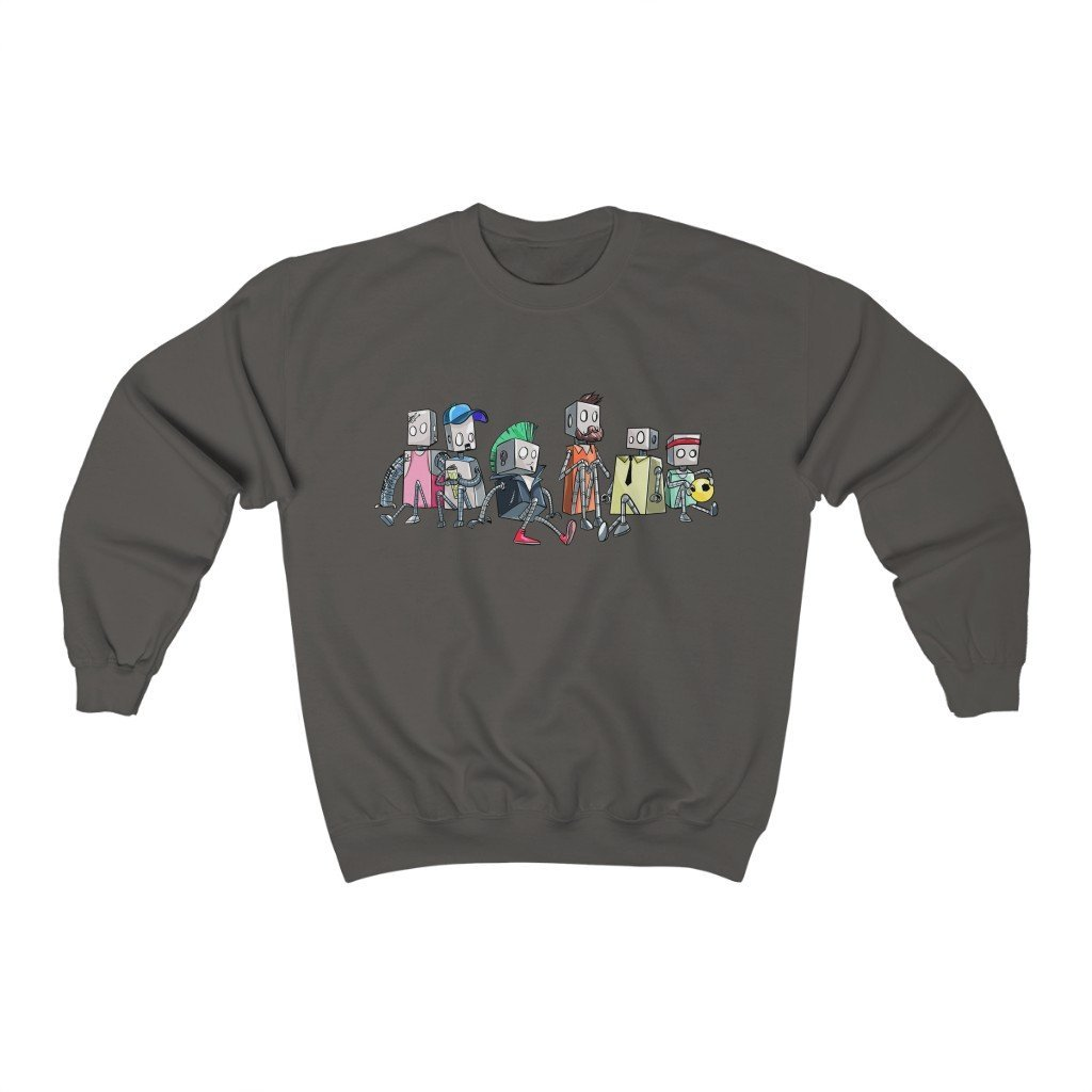"""Robot Friends"" Crewneck Premium Sweatshirt - Dan Pearce Creative Shop"