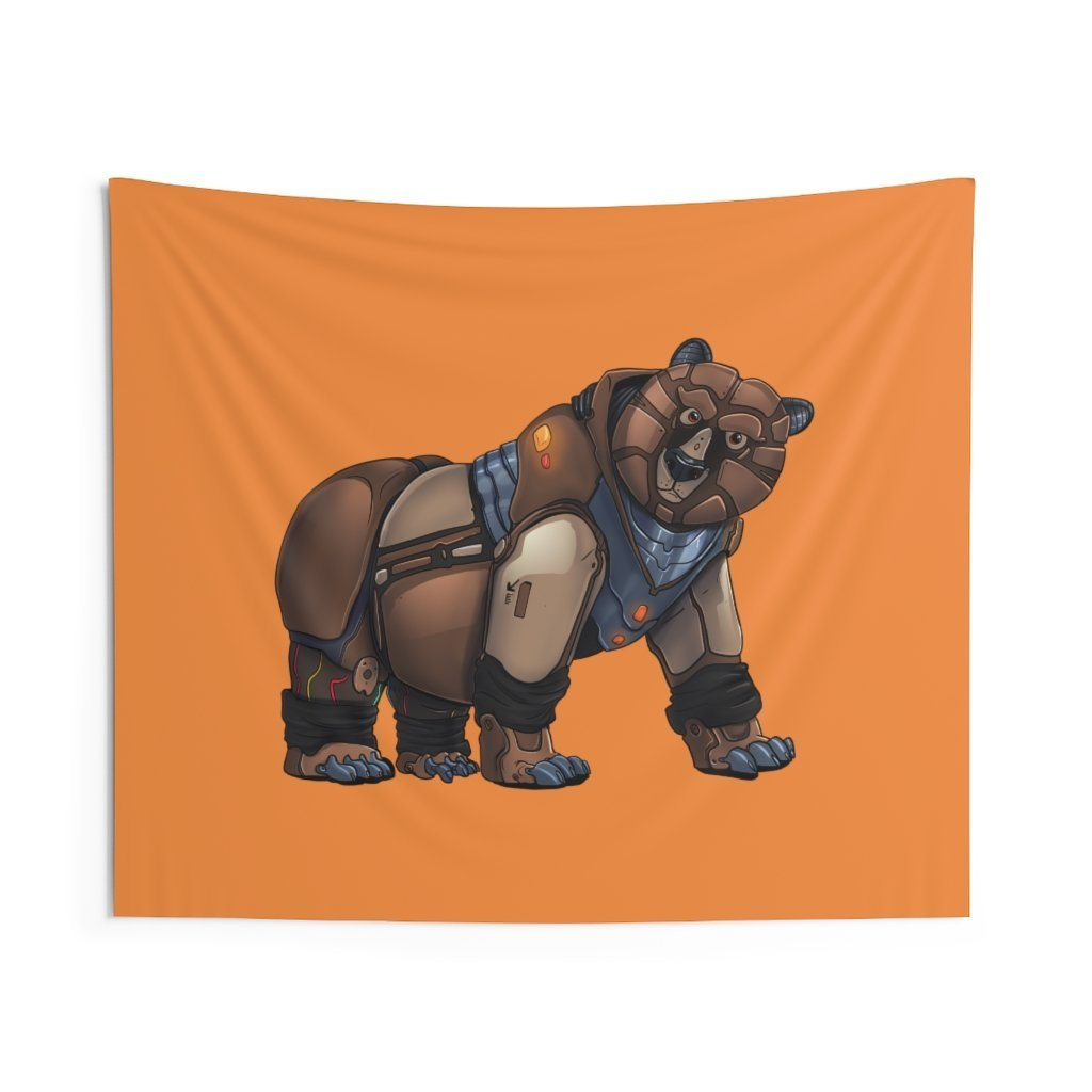 """Robot Grizzly Bear"" Indoor Wall Tapestry - Dan Pearce Creative Shop"
