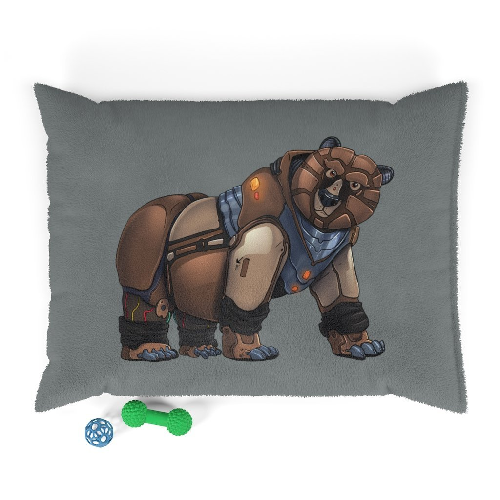 """Robot Grizzly Bear"" Pet Bed Featuring Art by Dan Pearce - Dan Pearce Creative Shop"