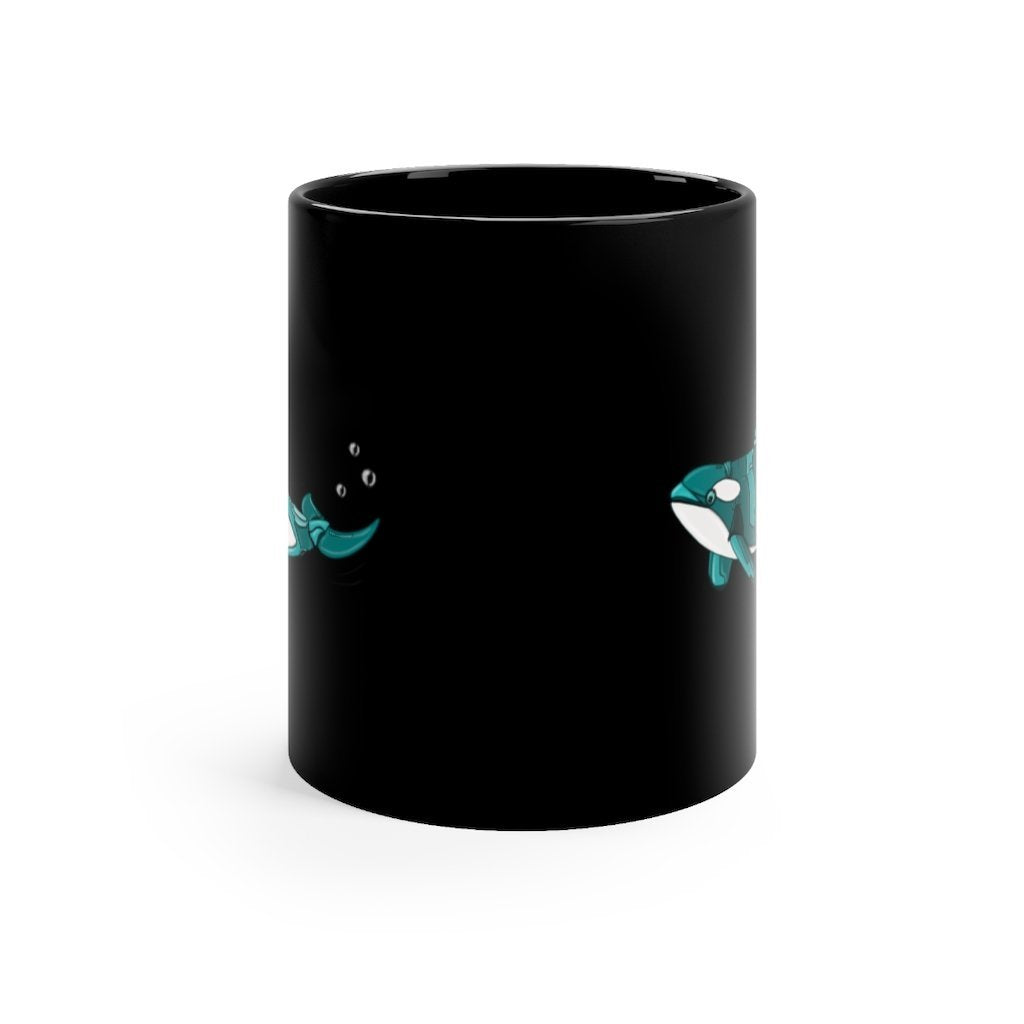 """Robot Orca Killer Whale"" 11oz Coffee Mug Featuring Artwork by Dan Pearce - Dan Pearce Creative Shop"