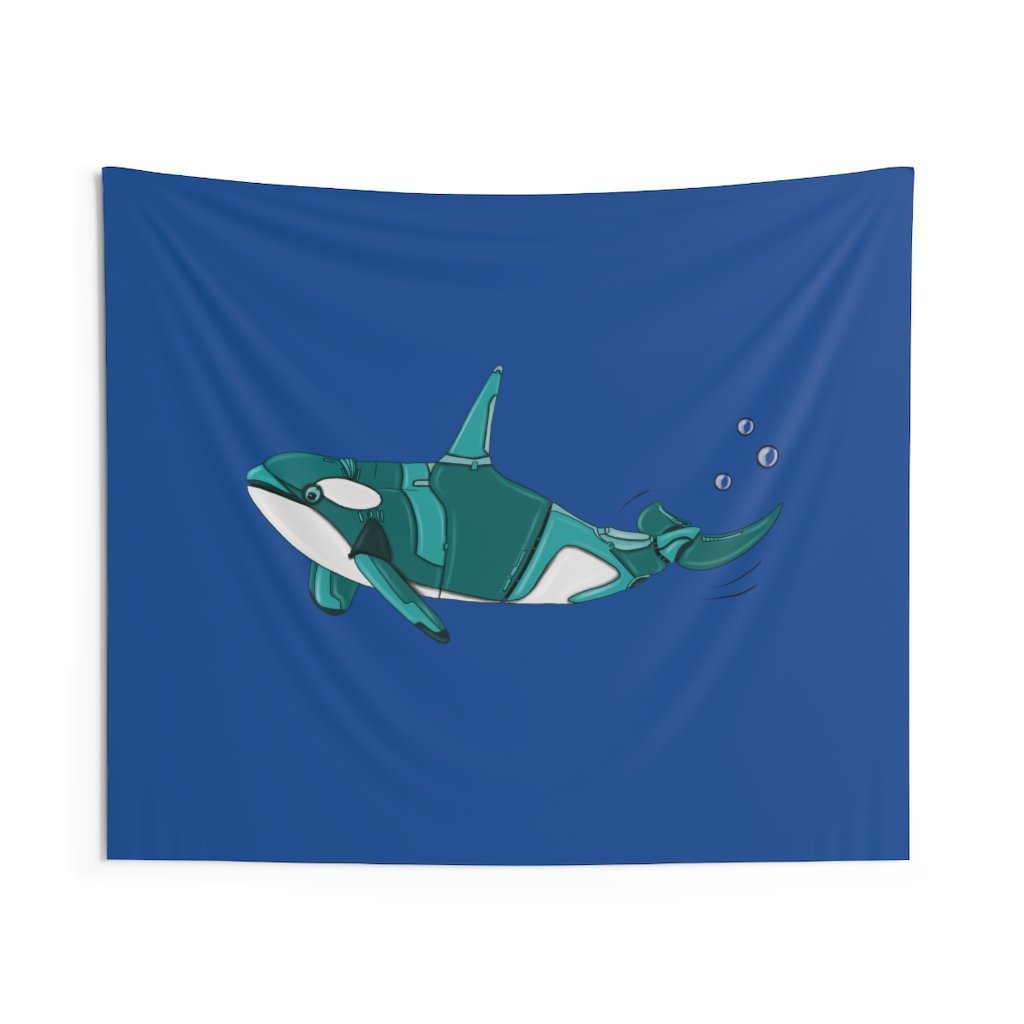 """Robot Orca Killer Whale"" Indoor Wall Tapestry - Dan Pearce Creative Shop"