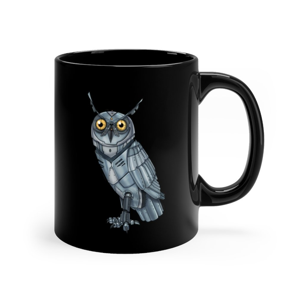 """Robot Owl"" 11oz Coffee Mug Featuring Artwork by Dan Pearce - Dan Pearce Creative Shop"