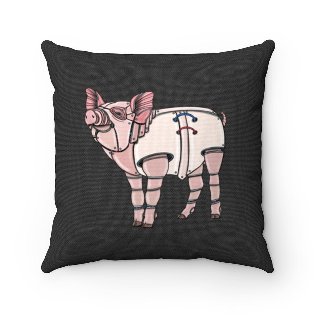 """Robot Pig"" Square Throw Pillow with Artwork by Dan Pearce - Dan Pearce Creative Shop"