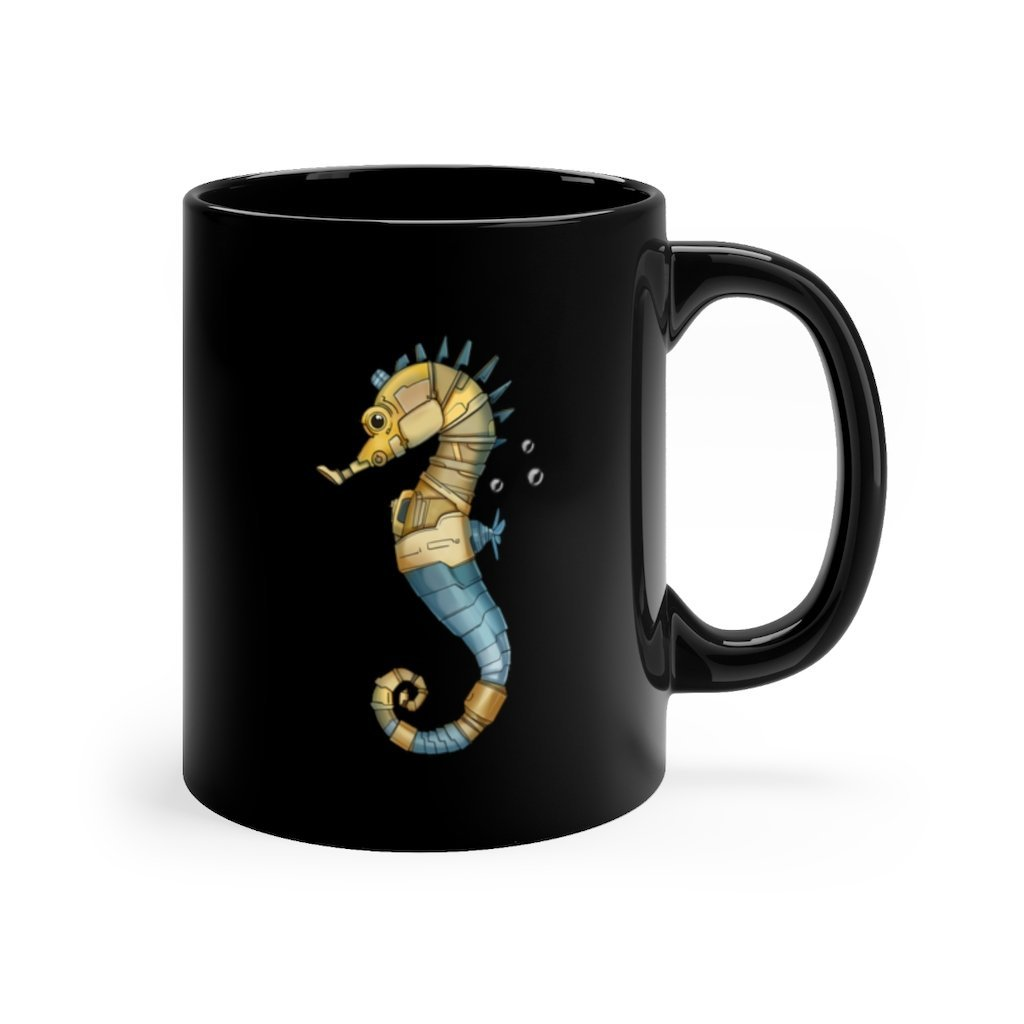 """Robot Seahorse"" 11oz Coffee Mug Featuring Artwork by Dan Pearce - Dan Pearce Creative Shop"