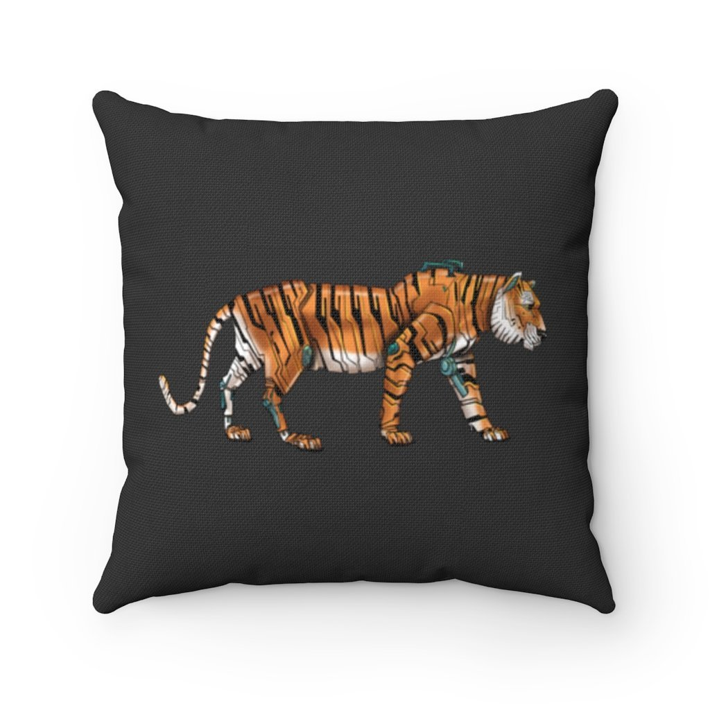 """Robot Tiger"" Square Throw Pillow with Artwork by Dan Pearce - Dan Pearce Creative Shop"