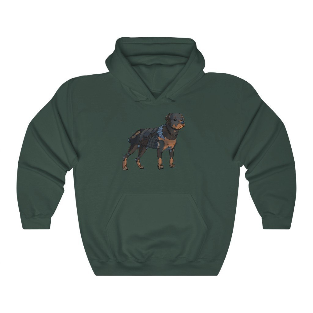 """Rottweiler Robot"" Hooded Sweatshirt by Dan Pearce (Hoodie) - Dan Pearce Creative Shop"