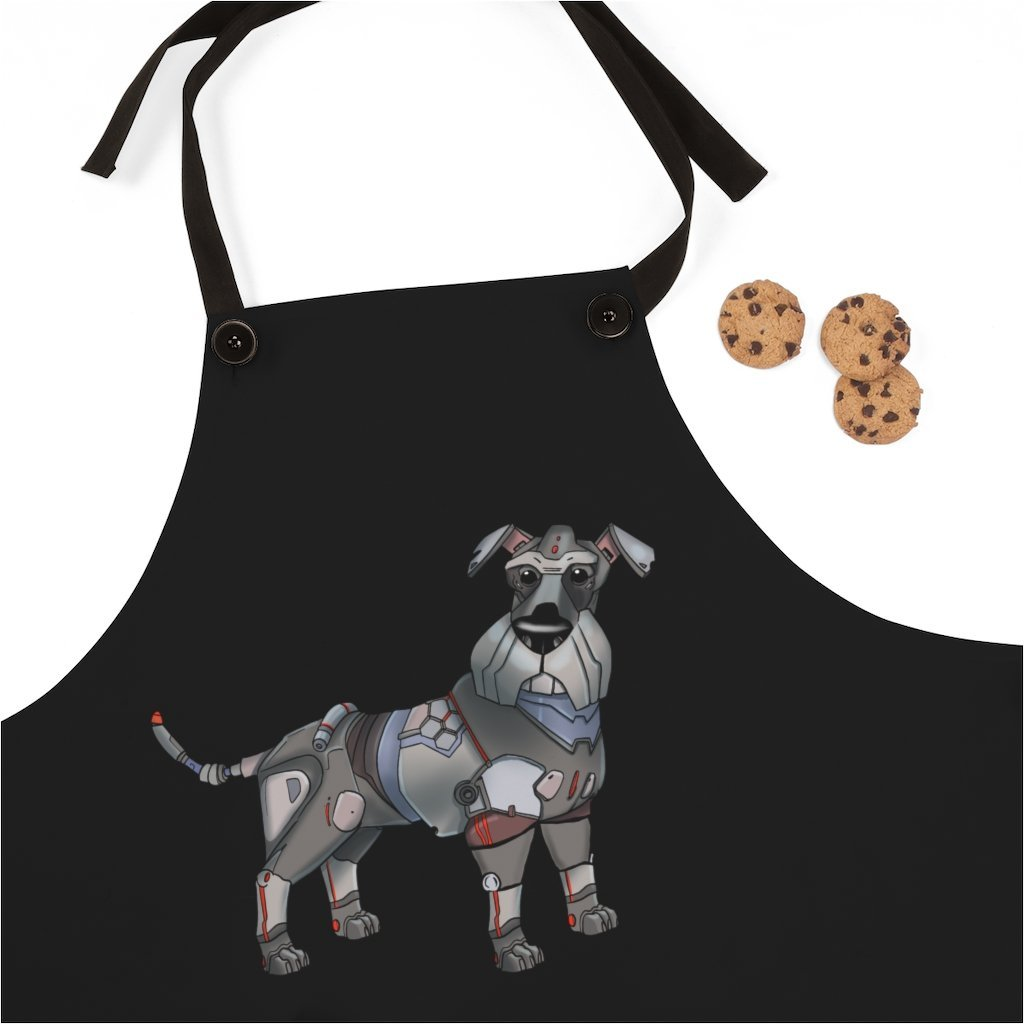 """Schnauzer Robot"" Cooking Apron Featuring Art by Dan Pearce - Dan Pearce Creative Shop"