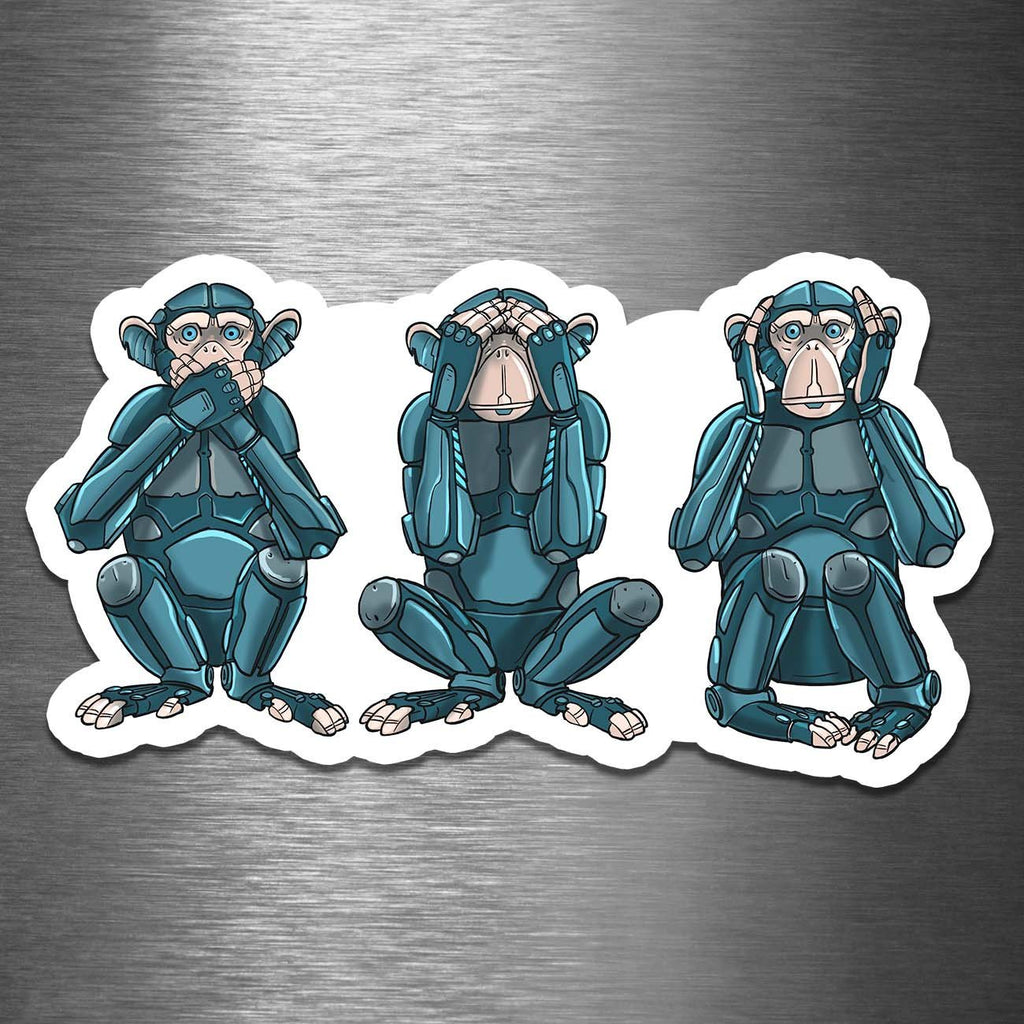 """See No Evil, Hear No Evil, Speak No Evil Robot"" - 3.5"" Premium Vinyl Sticker - Dan Pearce Creative Shop"