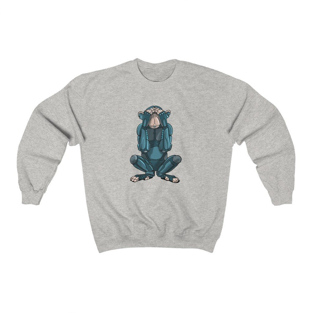 """See No Evil Monkey Robot"" Crewneck Premium Sweatshirt - Dan Pearce Creative Shop"