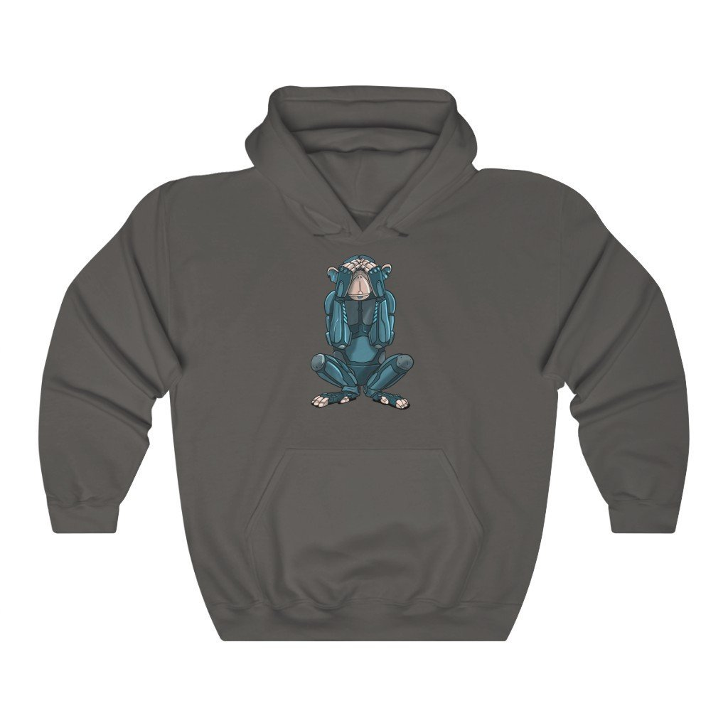 """See No Evil Monkey Robot"" Hooded Sweatshirt by Dan Pearce (Hoodie) - Dan Pearce Creative Shop"
