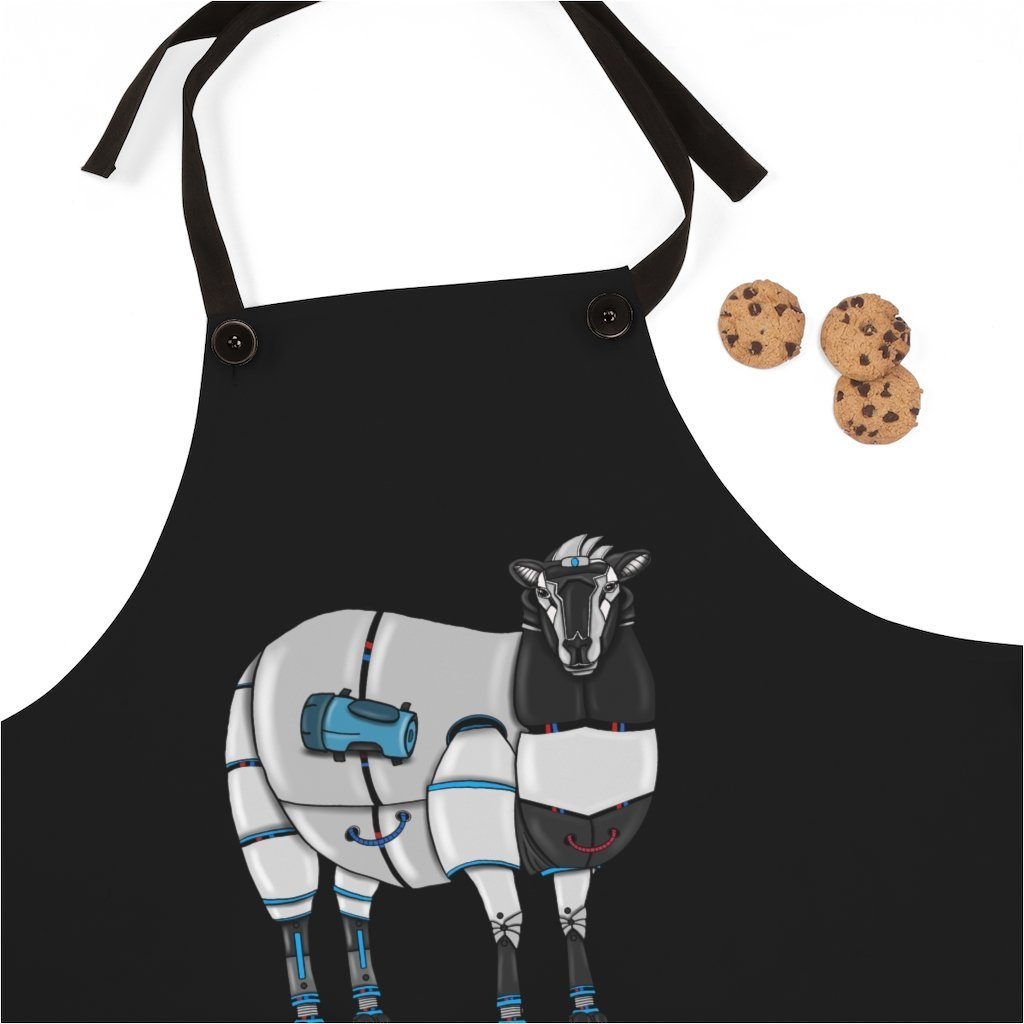 """Sheep Robot"" Cooking Apron Featuring Art by Dan Pearce - Dan Pearce Creative Shop"