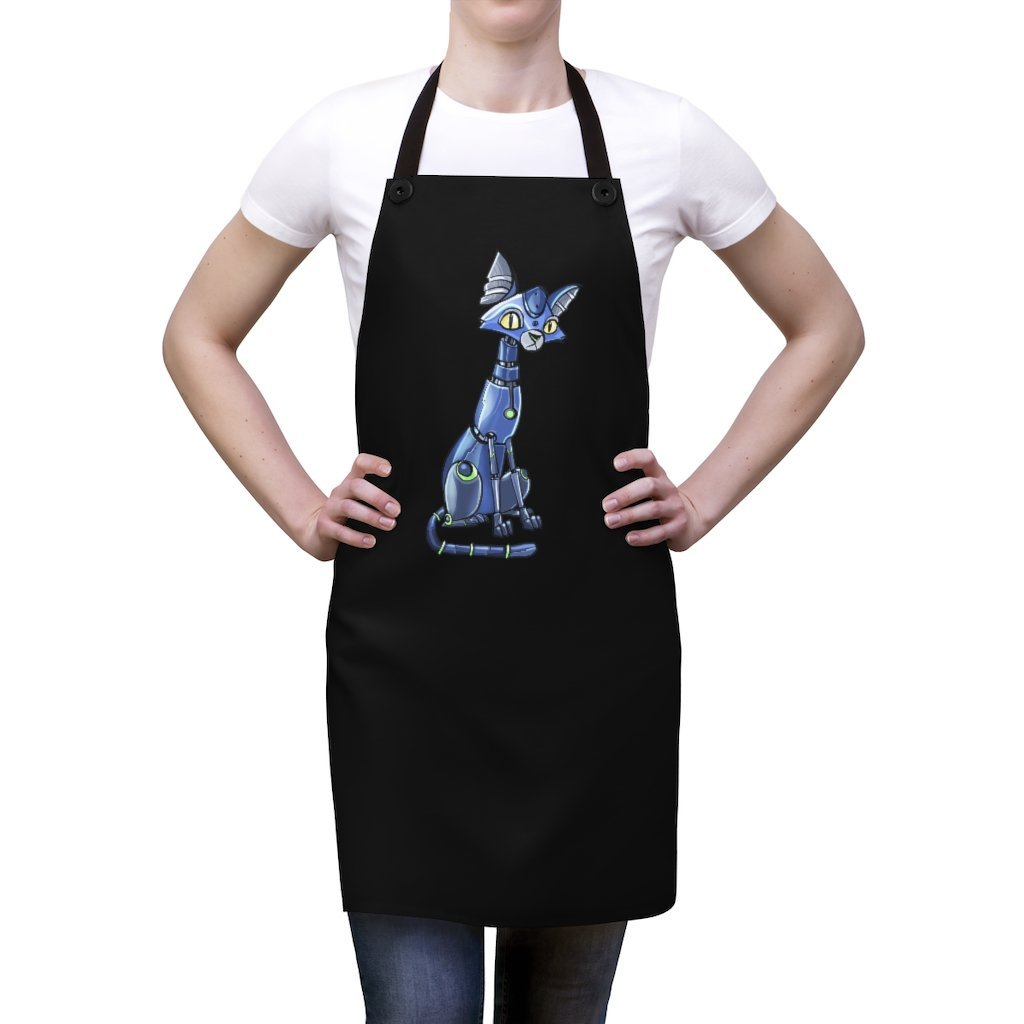 """Siamese Cat Robot"" Cooking Apron Featuring Art by Dan Pearce - Dan Pearce Creative Shop"