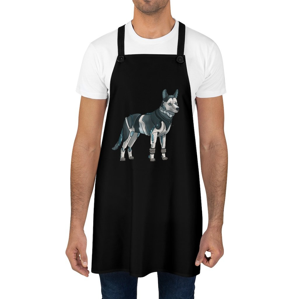 """Siberian Husky Robot"" Cooking Apron Featuring Art by Dan Pearce - Dan Pearce Creative Shop"