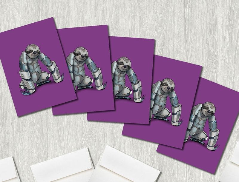 """Sloth Robot"" Premium Greeting Card(s) Featuring Art by Dan Pearce - Dan Pearce Creative Shop"