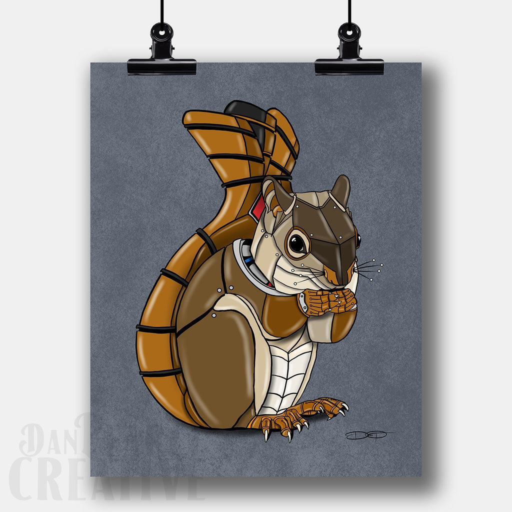 Squirrel Robot Fine Art Print Created by Dan Pearce - Dan Pearce Creative Shop