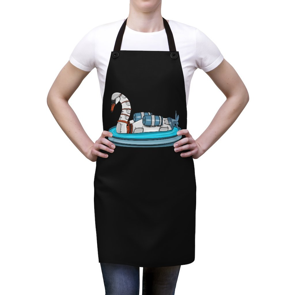"""Swan Robot"" Cooking Apron Featuring Art by Dan Pearce - Dan Pearce Creative Shop"