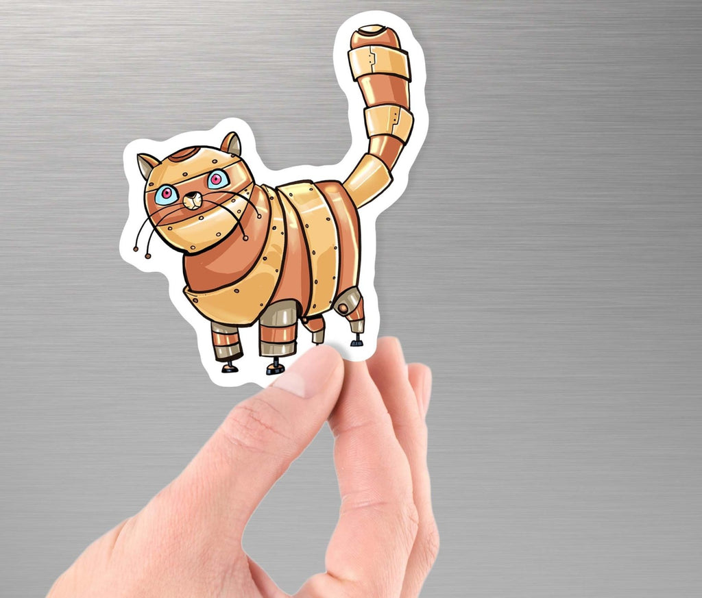 """Tabby Cat Robot"" - 3.5"" Premium Vinyl Sticker - Dan Pearce Creative Shop"