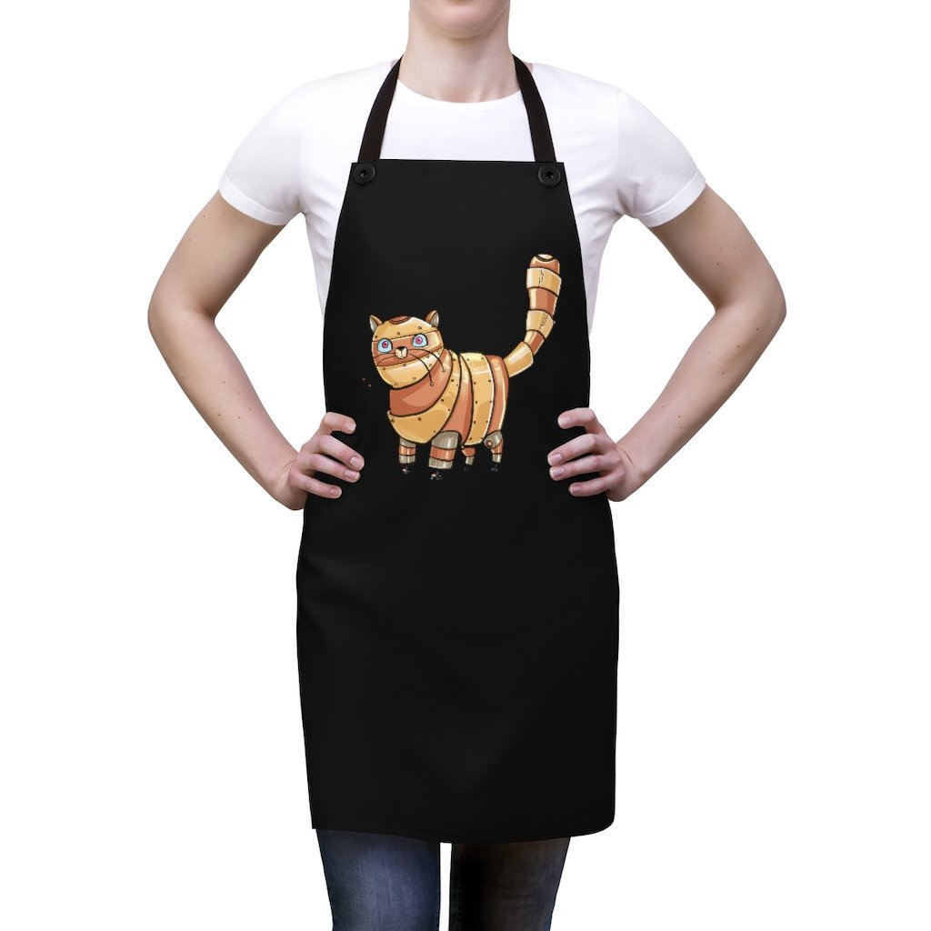 """Tabby Cat Robot"" Cooking Apron Featuring Art by Dan Pearce - Dan Pearce Creative Shop"