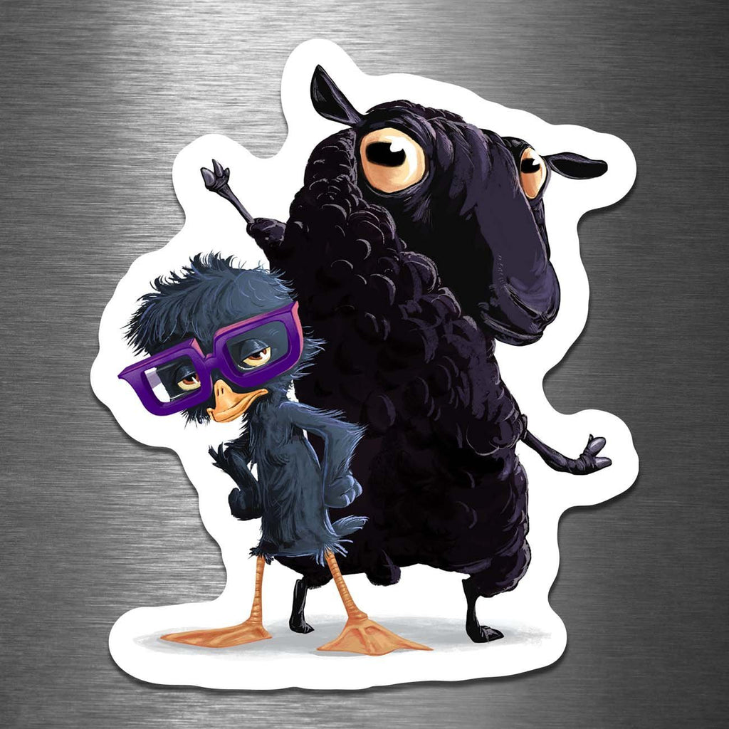 """The Black Sheep and the Ugly Duckling"" 3.5"" Vinyl Sticker - Dan Pearce Creative Shop"