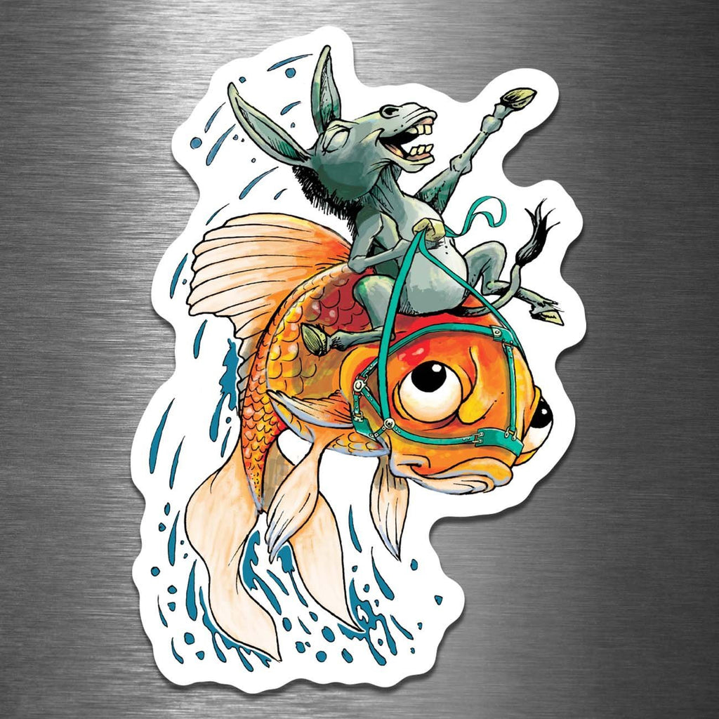 """The Donkey & The Fish"" - 4"" Vinyl Sticker for People Who Love Card Games - Dan Pearce Creative Shop"