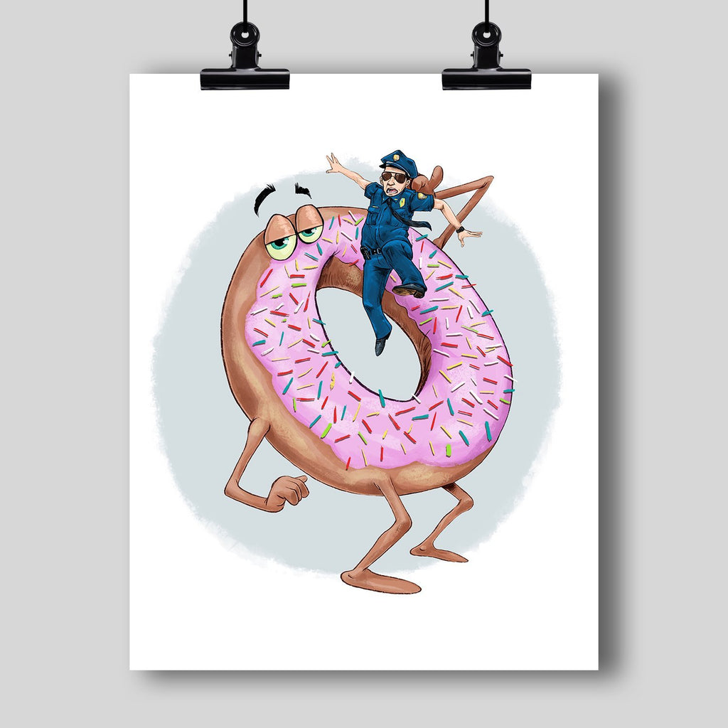 """The Donut Eating the Cop"" Art Print by Dan Pearce - Dan Pearce Creative Shop"