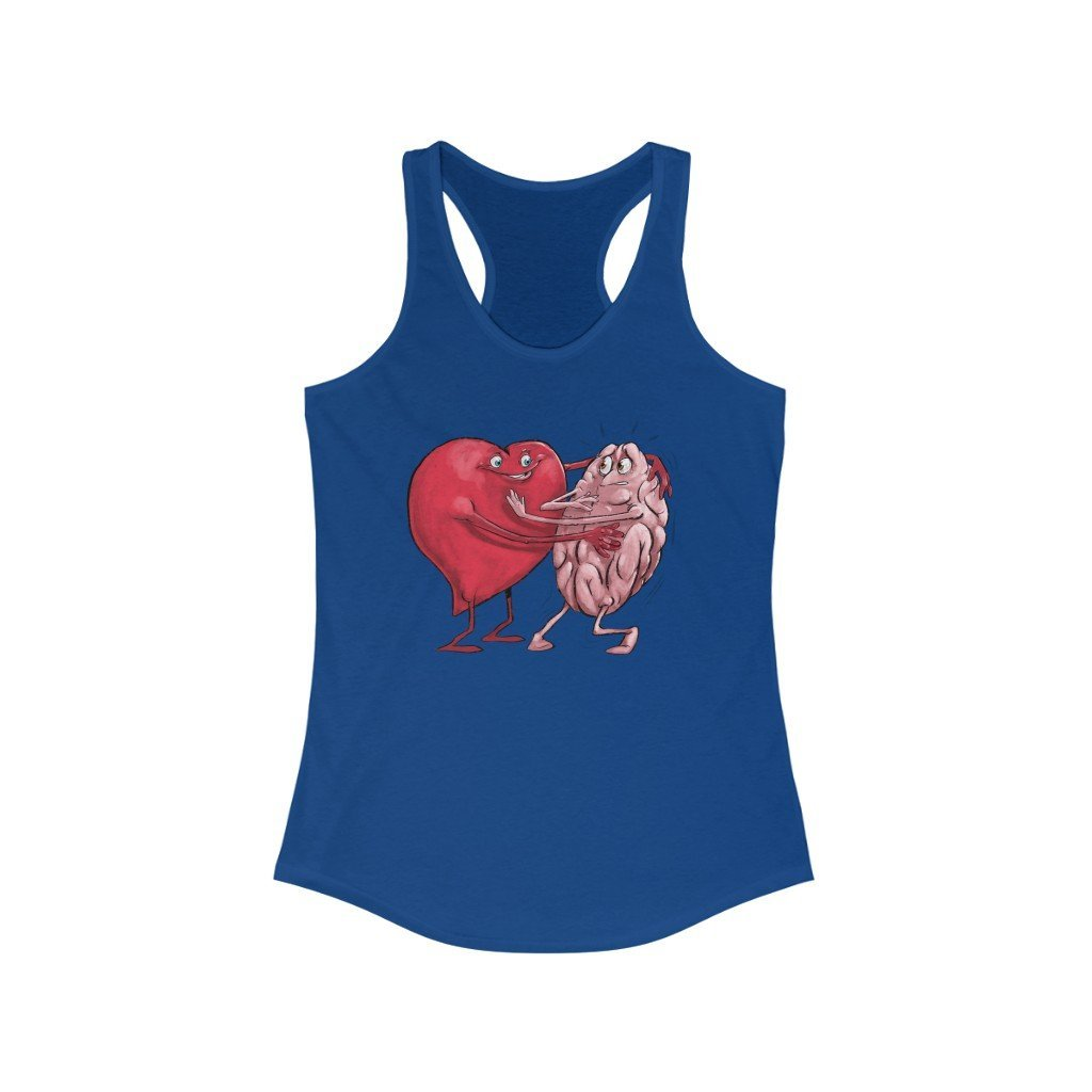 """The Heart is Willing But the Mind is Weak"" Racerback Tank Top - Dan Pearce Creative Shop"