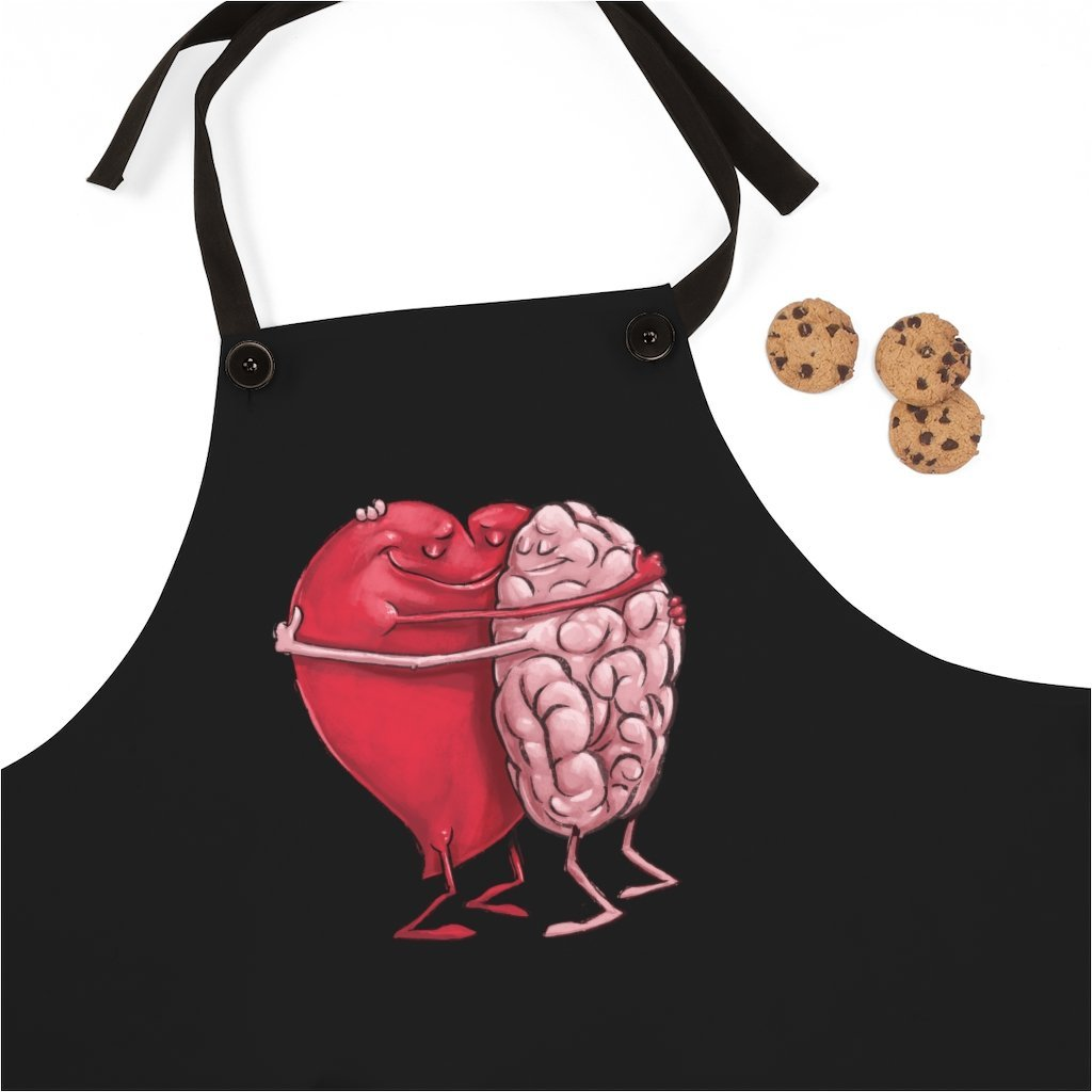 """The Mind Hugging the Heart"" Cooking Apron Featuring Art by Dan Pearce - Dan Pearce Creative Shop"