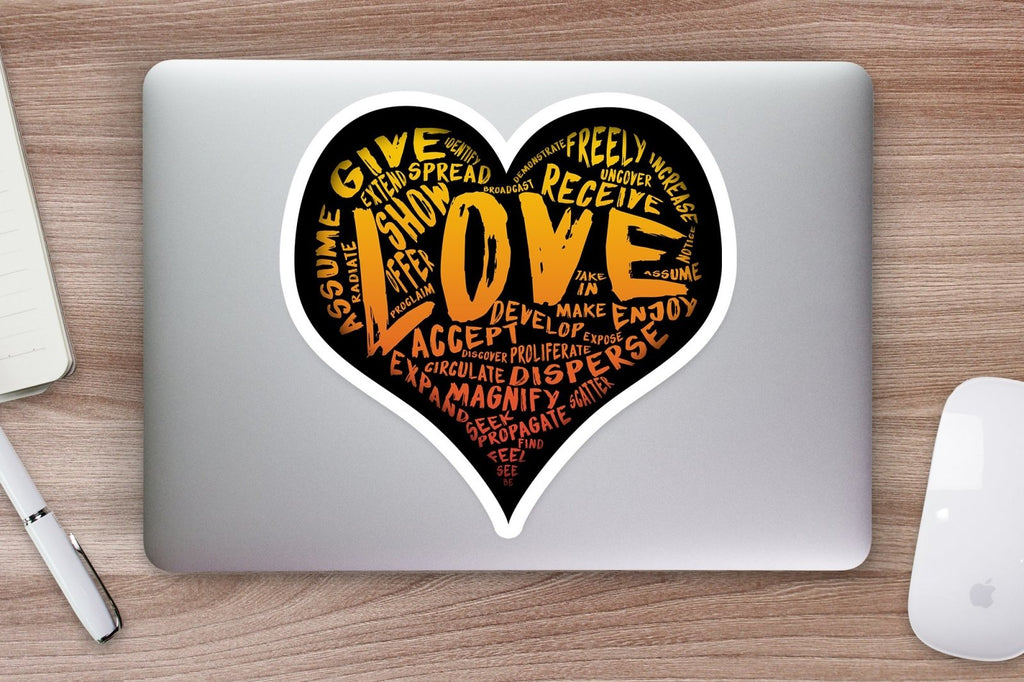 The Official LOVE Sticker (Orange-Yellow) - PRE-ORDER Vinyl Sticker (various sizes) - Dan Pearce Creative Shop