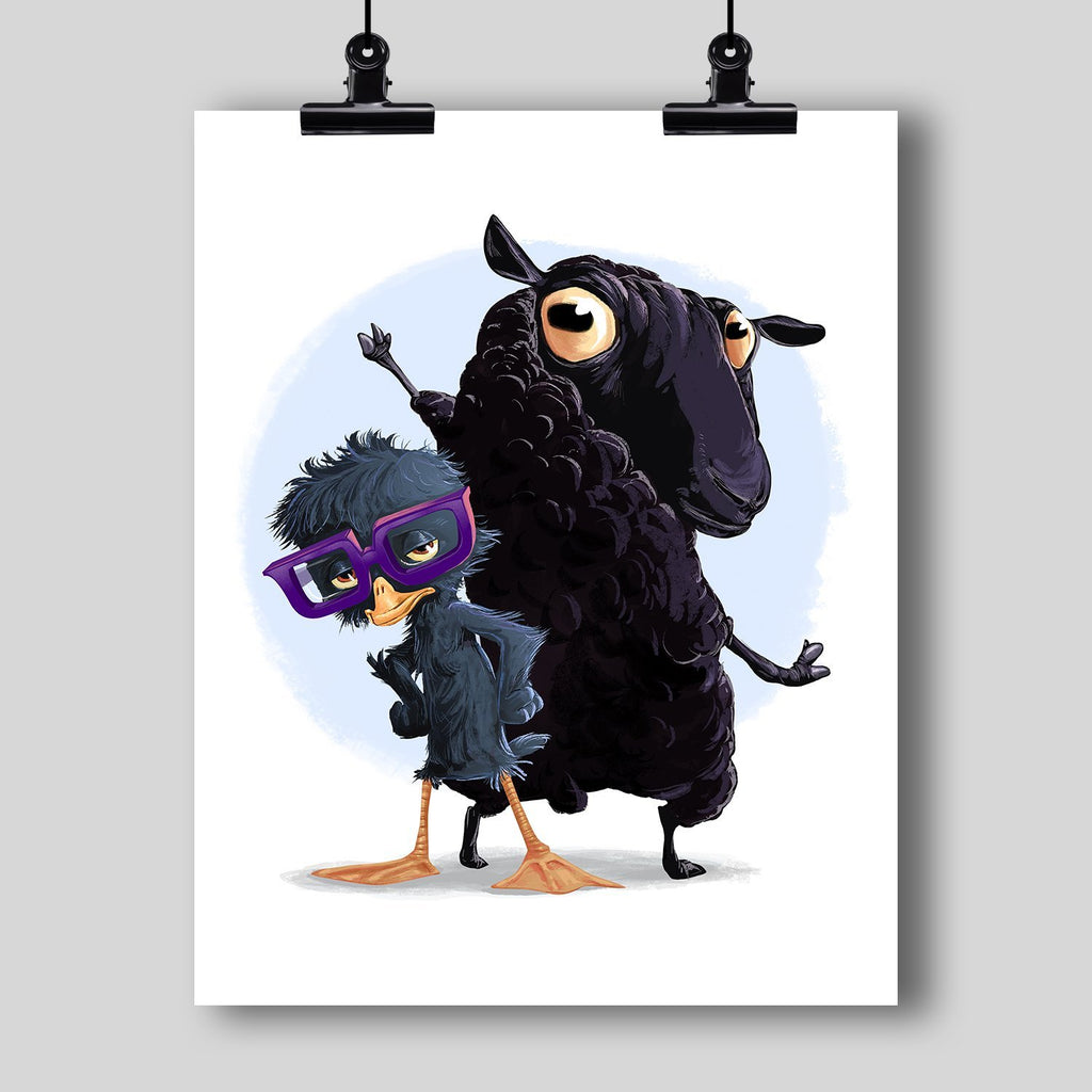 """The Ugly Duckling and the Black Sheep"" Art Print by Dan Pearce - Dan Pearce Creative Shop"