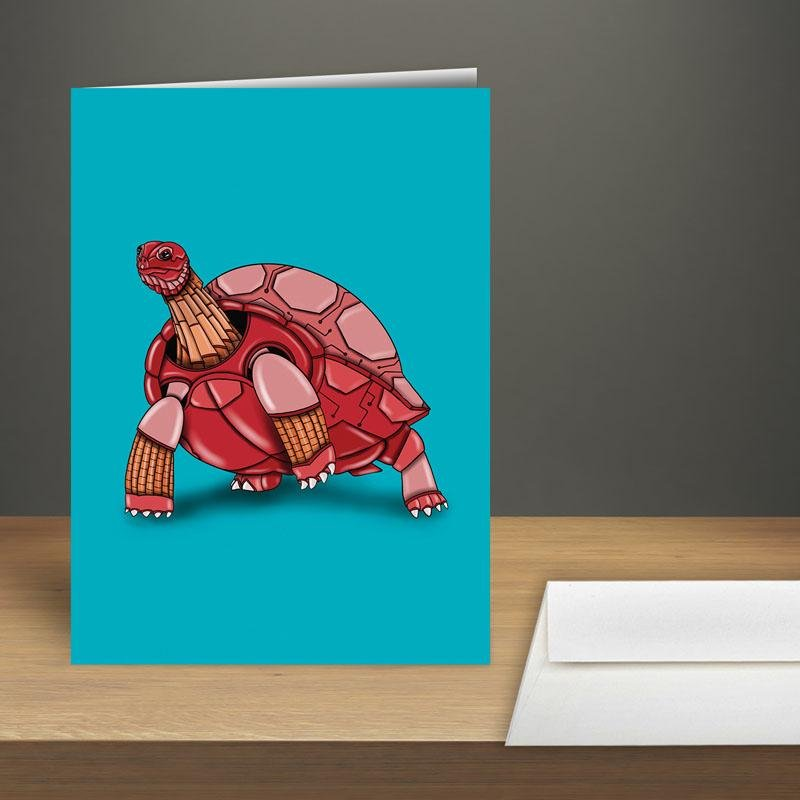 """Tortoise Robot"" Premium Greeting Card(s) Featuring Art by Dan Pearce - Dan Pearce Creative Shop"